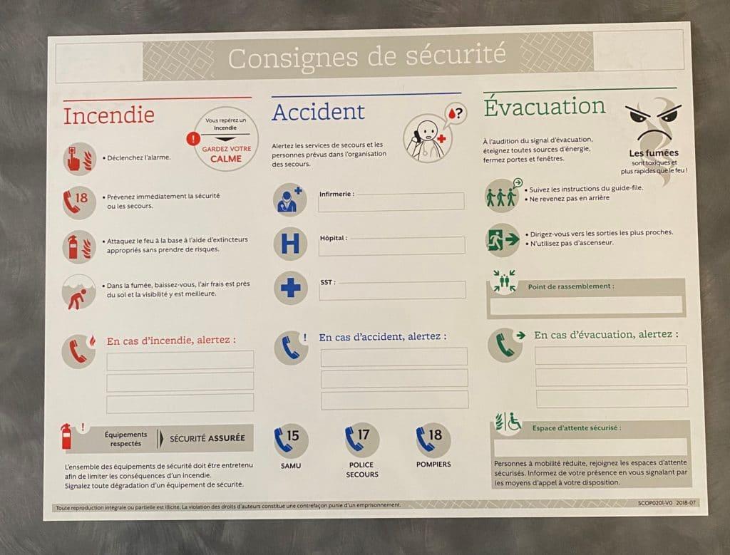 Consignes de sécurité obligatoires - Esquive Incendie - Niort (79)